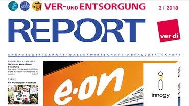 Report aus dem Fachbereich Ver- und Entsorgung, Cover der Ausgabe 02/2018